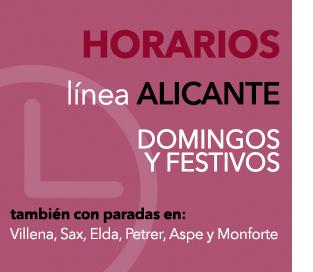 Consultar horarios linea Alicante (de domingos y festivos) con paradas en Villena, Sax, Elda, Petrer, Aspe y Monforte