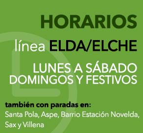 Consultar horarios linea Elda - Elche (lunes a sábado, domingos y festivos) con paradas en Santa Pola, Aspe, Barrio Estacion Novelda, Sax y Villena