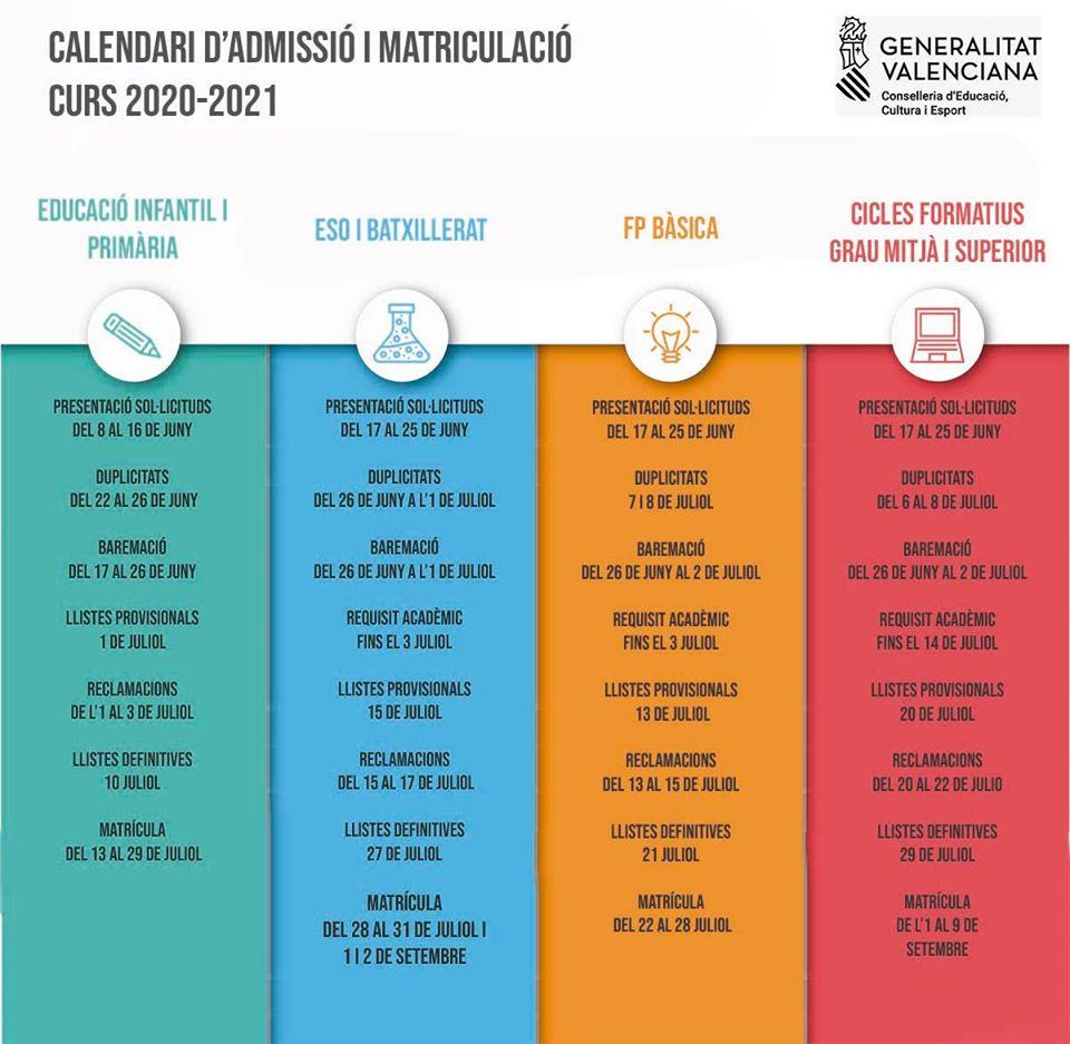 Calendario Matrículas